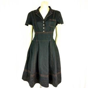 Talbots Black Linen Fit  & Flare Dress